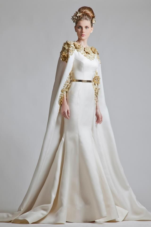 #Krikor_Jabotian White and Gold #Gown http://www.fustany.com/en/directory/
