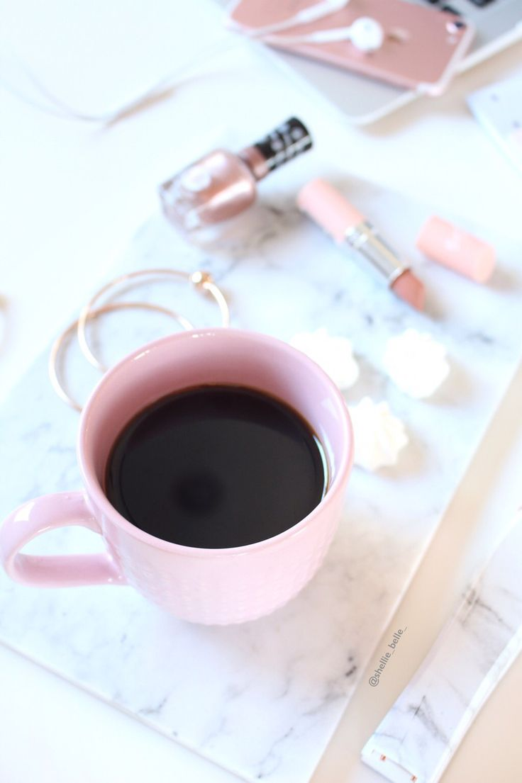 Pink flatlay with coffee