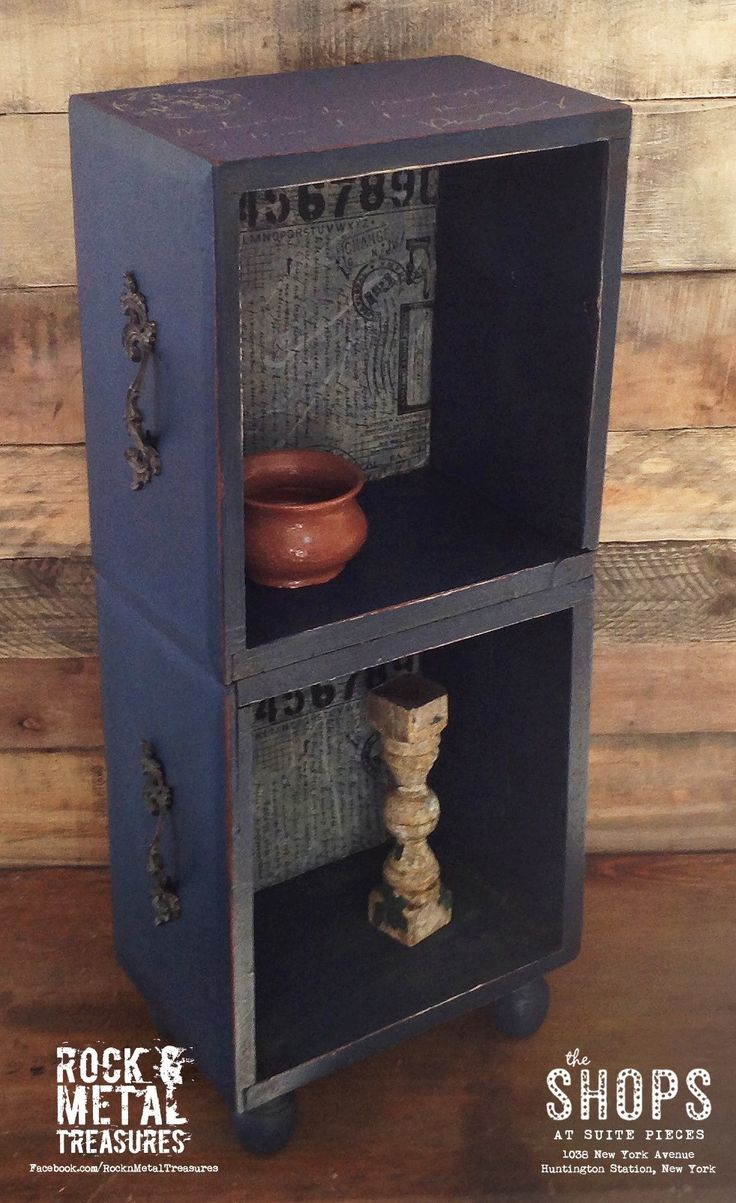 Upcycled & repurposed dresser drawers into an adorable end table/book shelf. Decoupaged center, painted and stenciled with Annie Sloan Napoleonic Blue chalk paint. #rocknmetaltreasures https://www.facebook.com/RocknMetalTreasures/