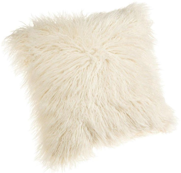 Faux Fur Pillow Natural 18 Inch Polyester Bed Sofa Throw Home Decor Fashion NEW  #BrentwoodOriginals
