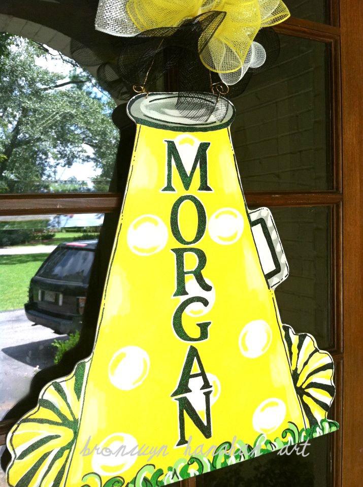 Cheer Megaphone Door Hanger - Bronwyn Hanahan Original. $50.00, via Etsy.