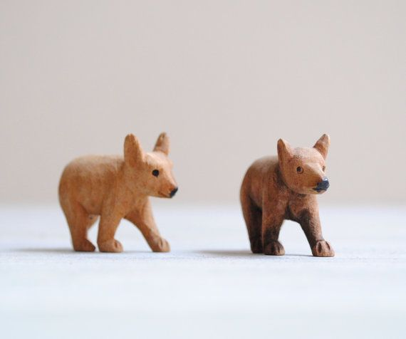 Pair of Vintage Hand Carved Wood Bear by LittleDogVintage on Etsy