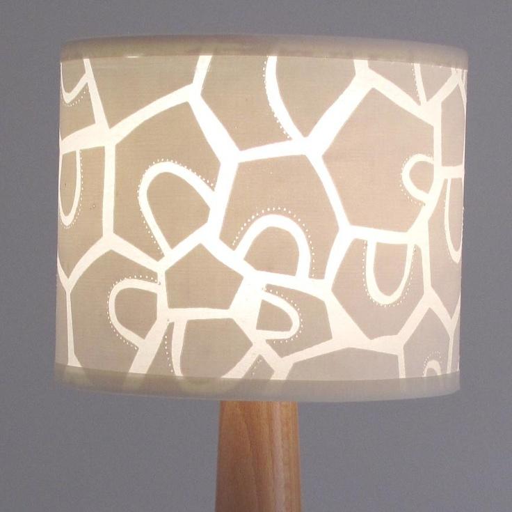Cream Lampshade retro modern patchwork design. £32.00, via Etsy.