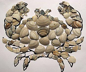 werkje van schelpen plakken