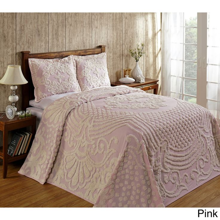 Curl up with a good book and luxuriate in the comfort of this ultra-soft, 100-percent cotton chenille bedspread. A soft, dreamy color palette blends with your existing bedroom decor to create an oasis