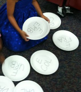 Everything Library: Call Number Centers with paper plates