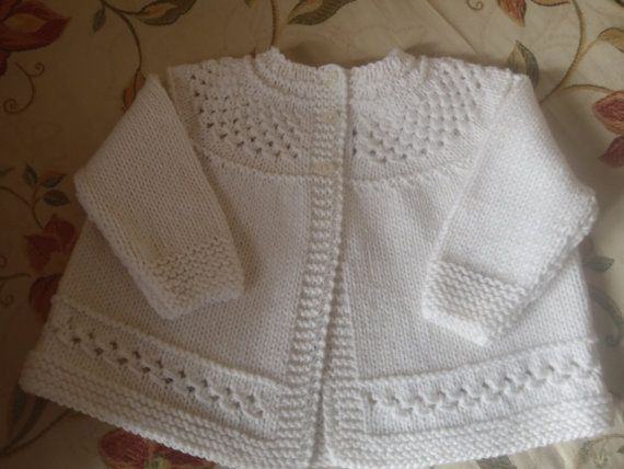 Pure Cashmere Baby Matinee Jacket / sweater hand knit  0 - 3 months