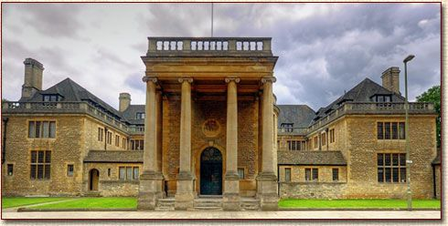 Rhodes House at Oxford University. It was designed by Sir Herbert Baker in the colonial style and was completed in 1928.