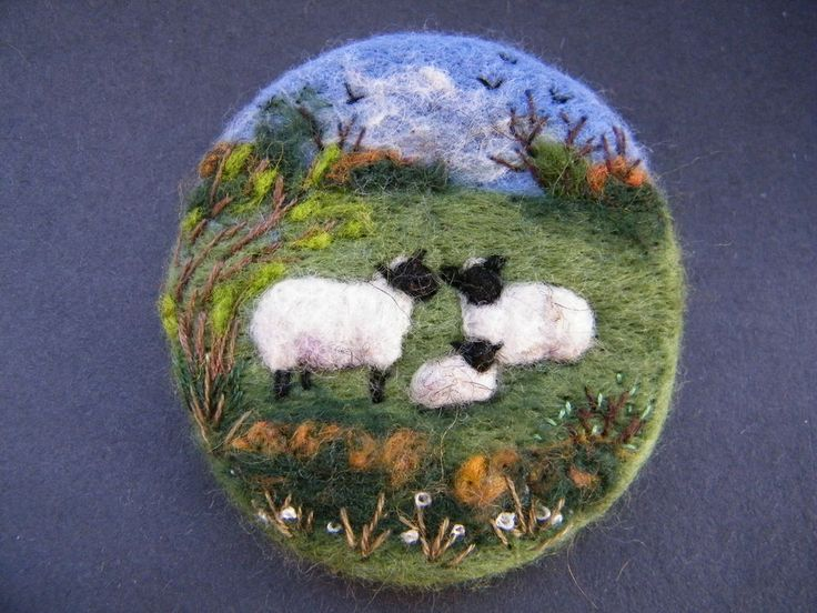 pretty whimsical welsh landscape sheep textile art jewellery design sweet little gift for birthdays or mothers day Handmade needle felted brooch     In the Blissful Meadow      by Tracey Dunn