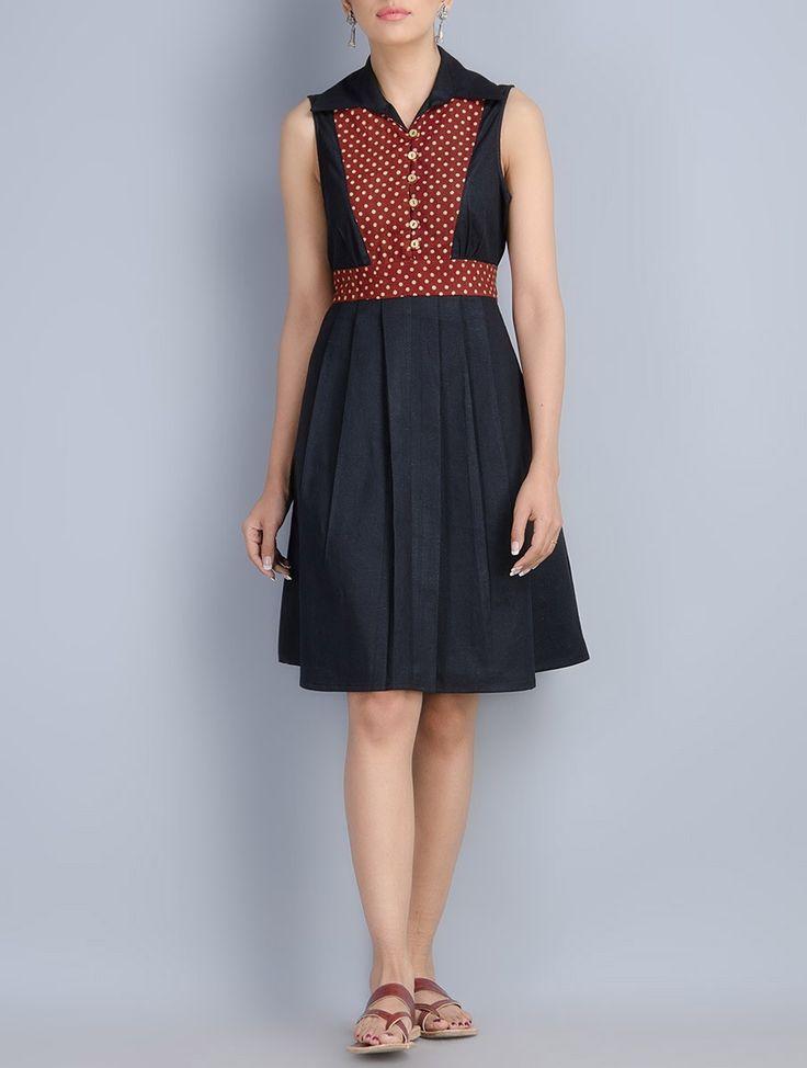 Buy Black Maroon Khadi Cotton Hand Block Printed Natural Dyed Dress Apparel Tops & Dresses Around the Handblock Stoles Aparel Online at Jaypore.com