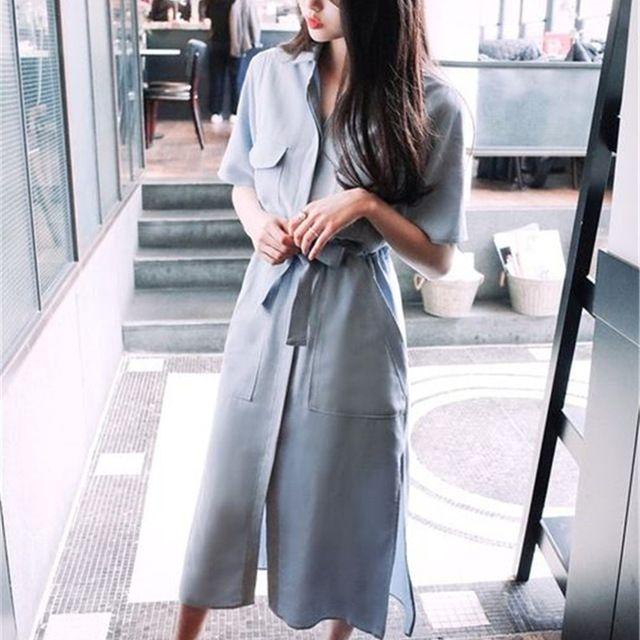 Бесплатная доставка 2017 Горячая Европейский Стиль Новинка весны и летние шорты с длинными рукавами платье-рубашка разрез платье для женское платье женский Vestidos