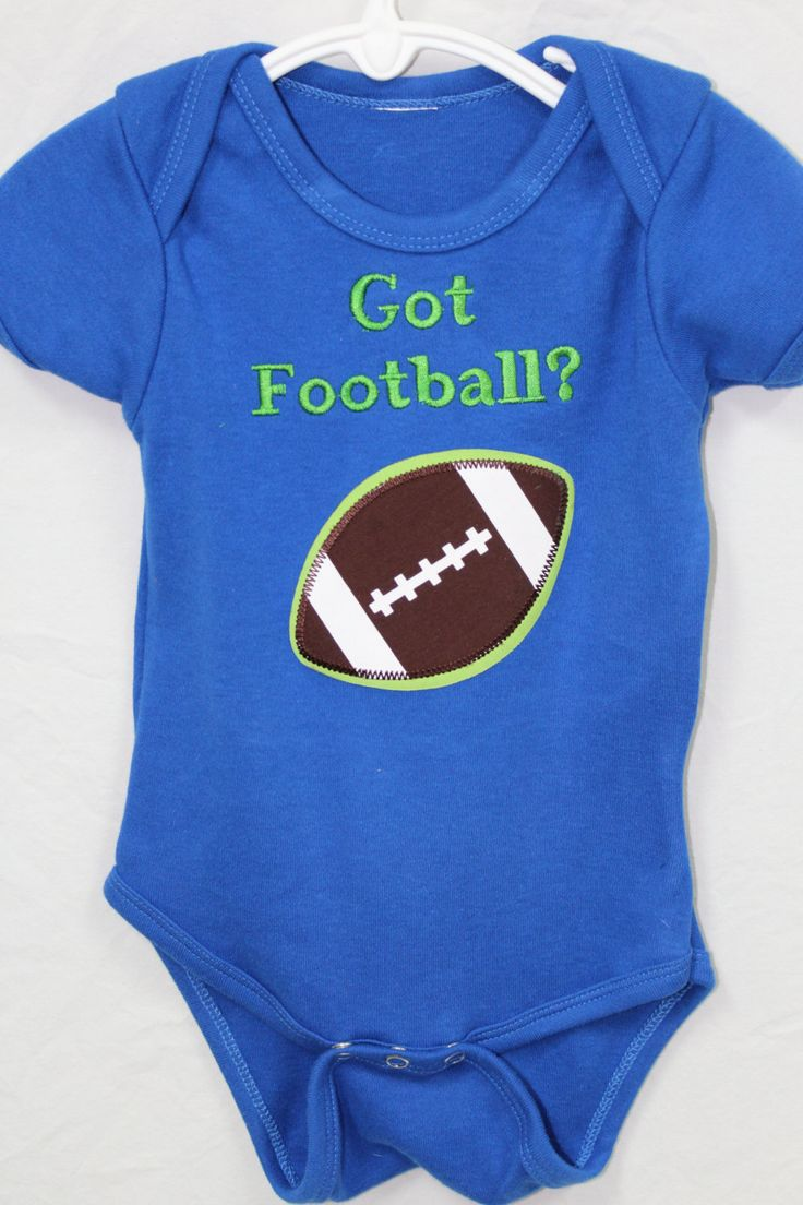 Blue onsie with large football applique and embroidered with Got Football? by DollyWollySewing on Etsy