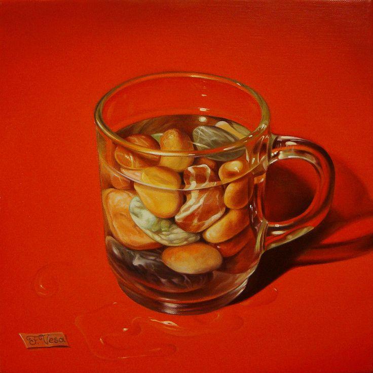 ,,Sea water on the rocks''-oil on canvas-25x25cm by artist Florentin Vesa
