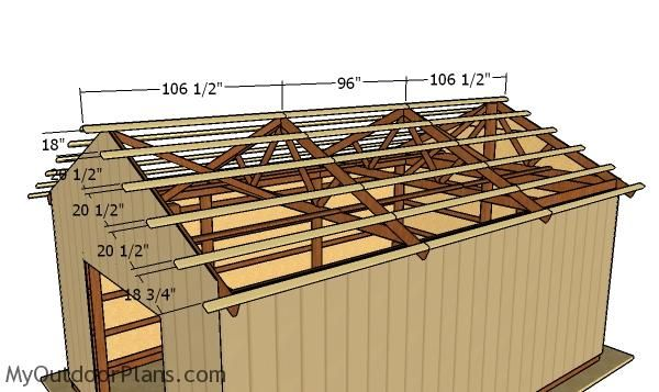 16x24 Pole Barn Roof Plans Myoutdoorplans Free Woodworking Plans And Projects Diy Shed Wooden Playhouse Pergola Bbq In 2020 Barn Roof Pole Barn Roof Plan