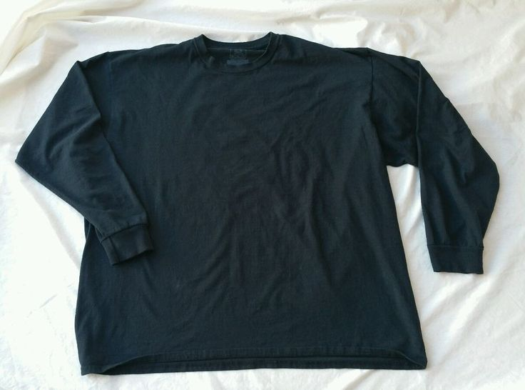 Black Long Sleeve Shirt Men's 3XL Basic Tee T-shirt Solid Color Men's big #FruitoftheLoom #BasicTee