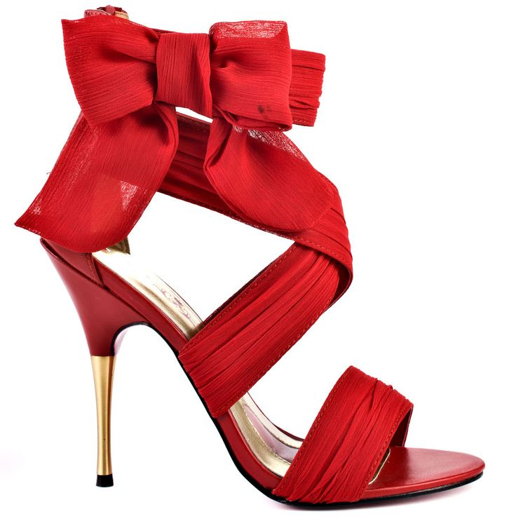 You'll go head over heels for this alluring and whimsical Paris Hilton style.  Selene showcases a chiffon red fabric upper criss crossing at the straps and showcasing a beautiful bow placed at the side.  A zipper in the back makes for a quick fit while a 4 inch stiletto heel gives you the perfect boost.