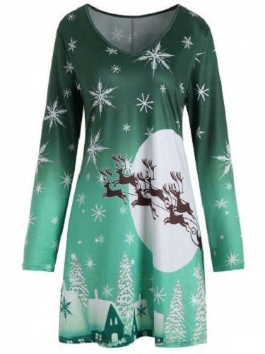 00c364e823e5 XL-5XL Women Dress Christmas Snowflake Sled Moon Print Plus Size T Shirt  Dress  Unbranded  ALineDress  Party