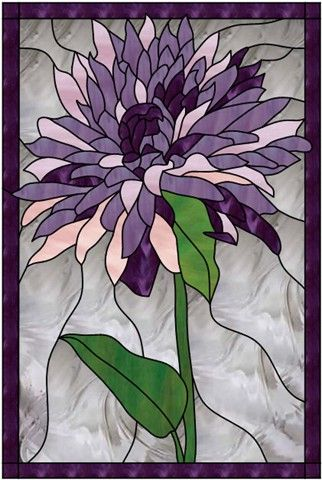 A beautiful chrysanthemum that can be done in the color of your choice. This piece has 147 hand cut and copper foil taped pieces to give detail and depth to this ruffled flower.