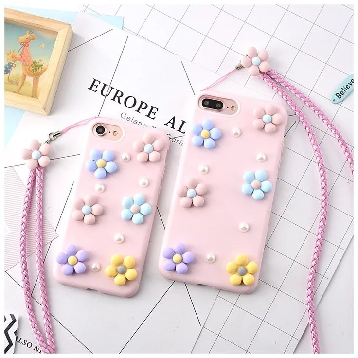 LOVECOM New Arrival For iPhone 7 7Plus For iPhone 6 6S Plus Cute 3D Colorful Flowers with Rope Pattern Soft Phone Cases YC2006