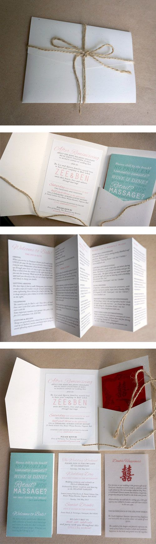 my destination beach wedding invite with guide book + traditional ang pow