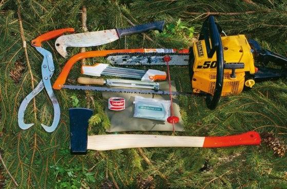 Standardudstyr i skoven: Tømmersaks, ryddekniv, bøjlesav med klinge til grovsavning af friskt træ, fil (her en type som tager skæretand og rytter på en gang, samt en rundfil), målebånd med magnet, skovøkse. Nederst i førstehjælpspakken er det altid praktisk at have en rulle toiletpapir.