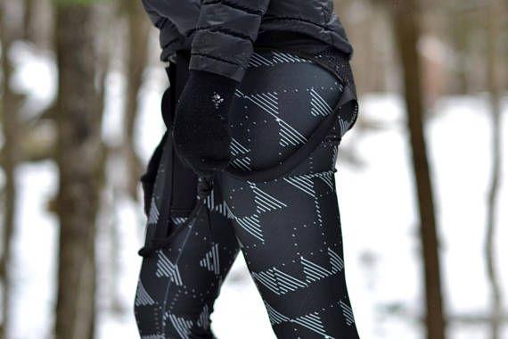 Leggings de course noir avec triangle blanc leggings de yoga