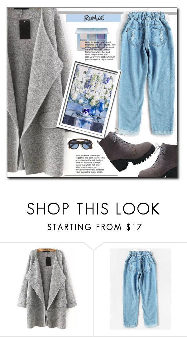 """""""Romwe 4/I"""" by emapolyvore ❤ liked on Polyvore featuring Safilo, StreetStyle, romwe, grey, pants and coat"""