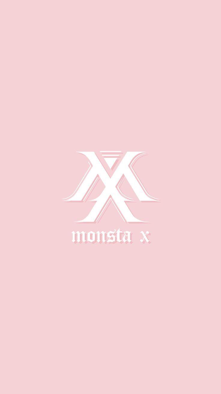 Monsta X Pink And White Logo Wallpaper Monsta X Wallpaper Kpop Wallpaper