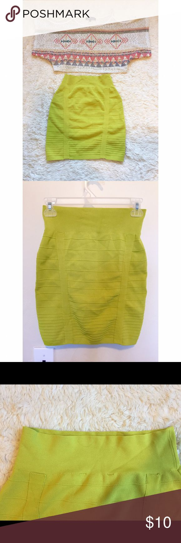 Ribbed Lime Green Pencil Skirt Green pencil skirt that is ribbed and lined  for a flattering fit. Only worn twice, but does have a small stain on the top of the back of the skirt in Picture 3. The material is very thick and stretchy! In great condition, no rips. Size S. Crop top is for sale in a separate post. Rock & Republic Skirts Pencil