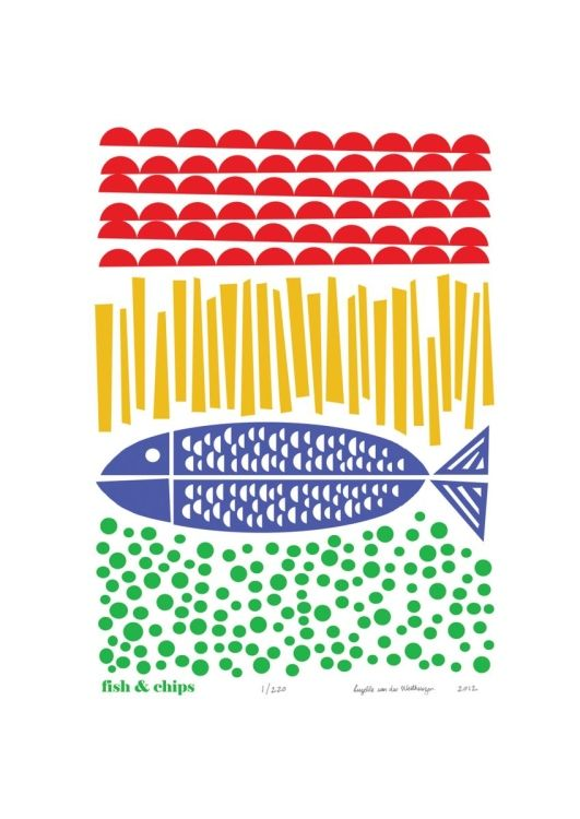 Fancy some Fish and Chips by the seaside? Britain's favourite dish: Fish and Chips. FREE Worldwide Delivery for the Unframed Print.  Colours: red, buttercup yellow, cobalt and red on white paper ...