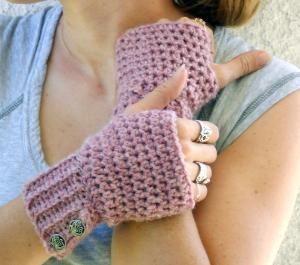 Rose crochet button wrist warmers arm warmers by ValkinThreads