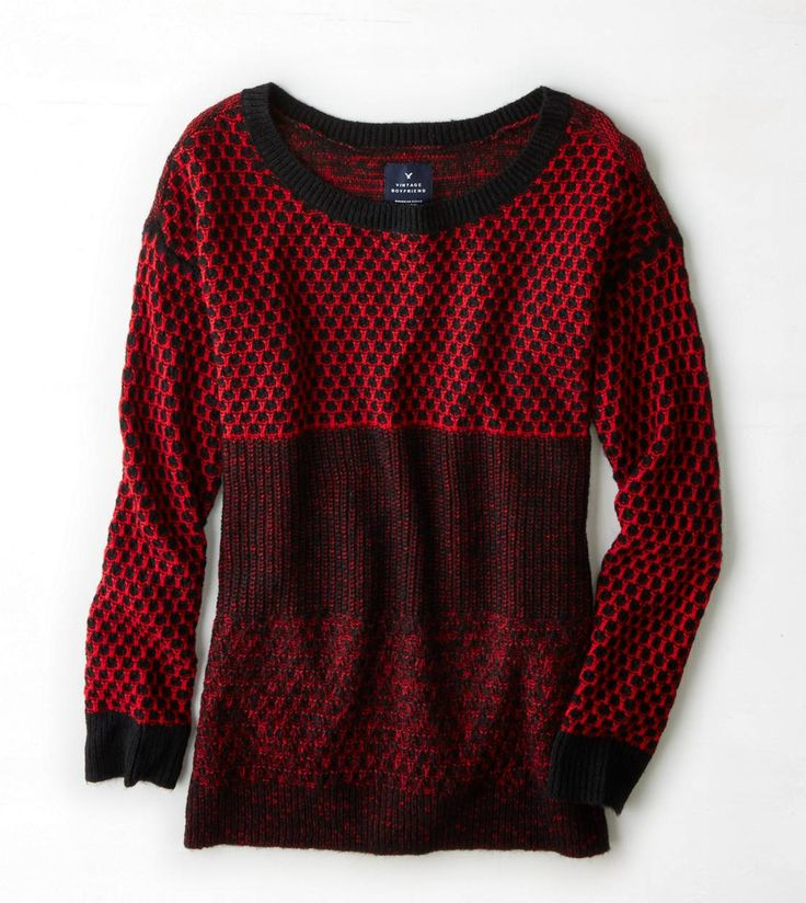 AEO Knit Colorblock Crew Sweater