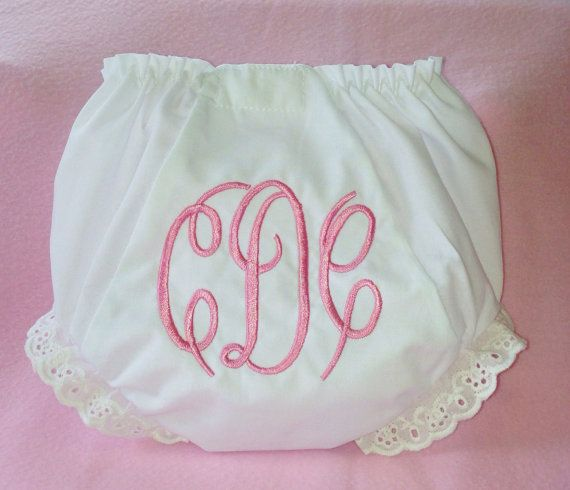 Baby Girl Monogrammed Diaper Cover or Bloomers Personalized with Initials  in light pink on Etsy,