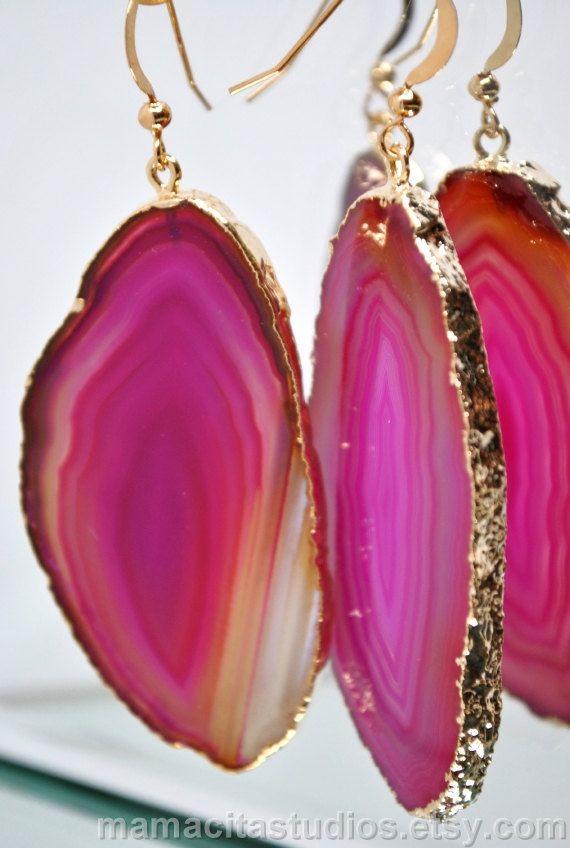 Earrings, Agate Slice Earrings, Agate Sliced Jewelry $29.99