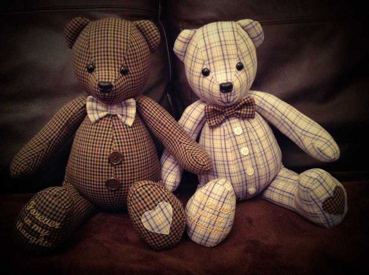 Remembrance Bears made from the jacket and shirt of a much loved Dad & Grandad  www.handcraftedmemorybears.co.uk