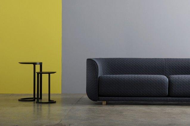 Cult's Fat Tulip three-seater sofa with Nest side tables available in natural ash, black stained ash, walnut