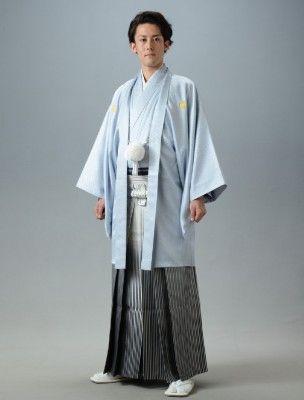 クールな水色菊菱・黒シルバーグラデーション袴。結婚式に着たい新郎の袴姿。ウェディング・ブライダルの参考に。