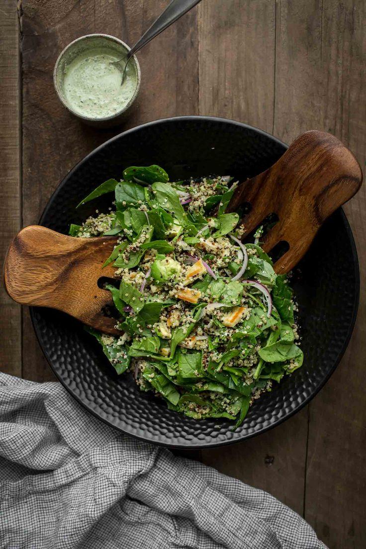 Halloumi Salad with Spinach, Quinoa, and Herbed Hemp Dressing | @naturallyella