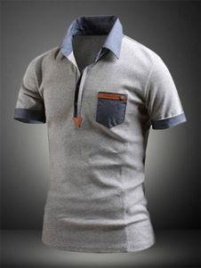 Blanco que forma la camisa de Polo del algodón de la impresión para los hombres