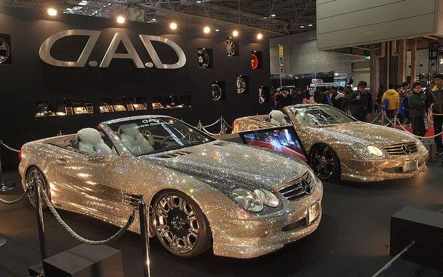 Custom Mercedes-Benz SL600 Covered With Swarovski Crystals #bling