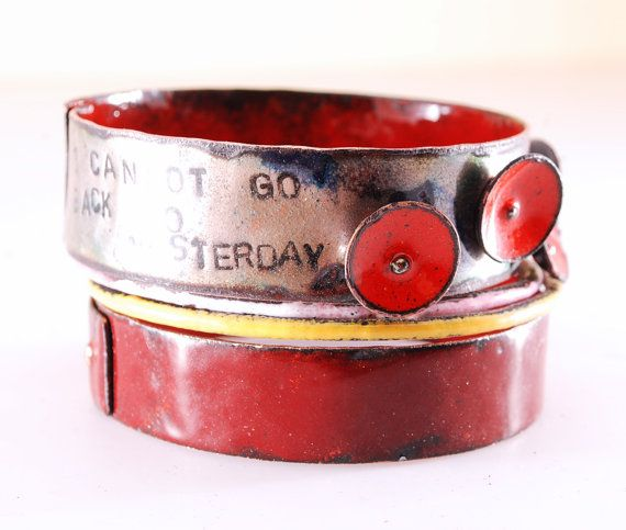 RED WINE  enameled bangles by OYRZANOWSKA on Etsy
