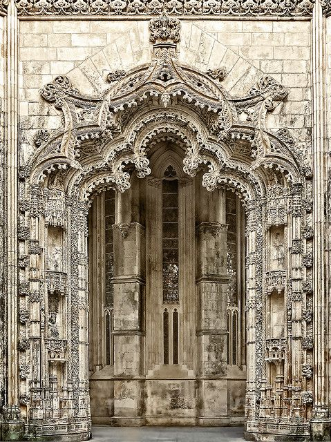 Portal of the Monastery of Batalha, Batalha, Leiria, Portugal. It is one of the best and original examples of Late Gothic architecture in Portugal, intermingled with the Manueline style. by Daniel Schwabe