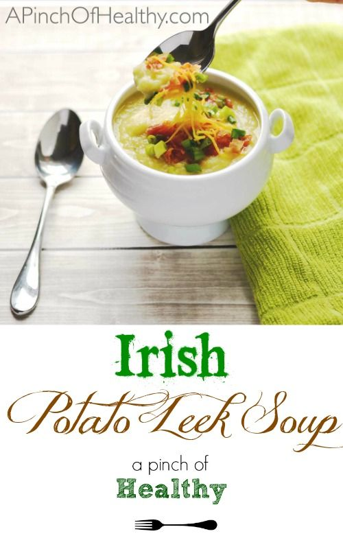 This Irish potato leek soup is a delicious way to celebrate St. Patrick's Day. It reminds me of a loaded baked potato...in the form of soup! | APinchOfHealthy.com