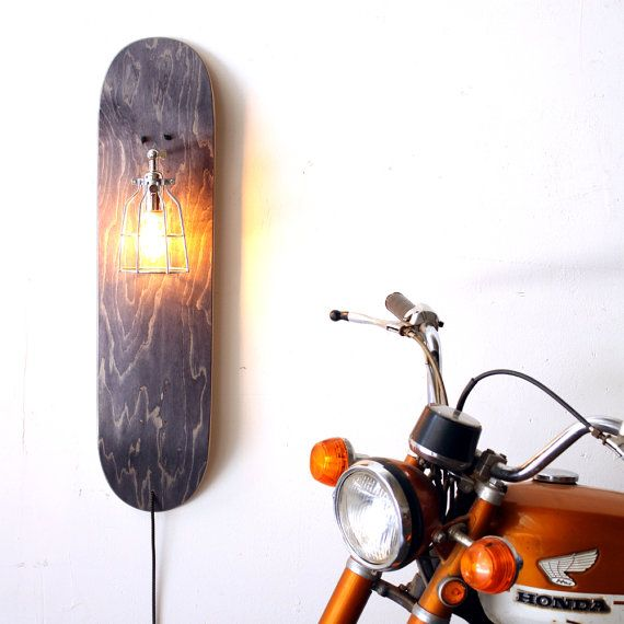 Repurposed Skateboard Lamp- Skate Sconce- Grey Wood Sconce- Industrial Cage  Light- Upcycled Wall Lamp- Skateboard Decor Light