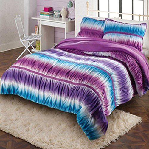 teen girl comforter sets ruffle bedding with two shams fullqueen size blue and - Purple Comforters