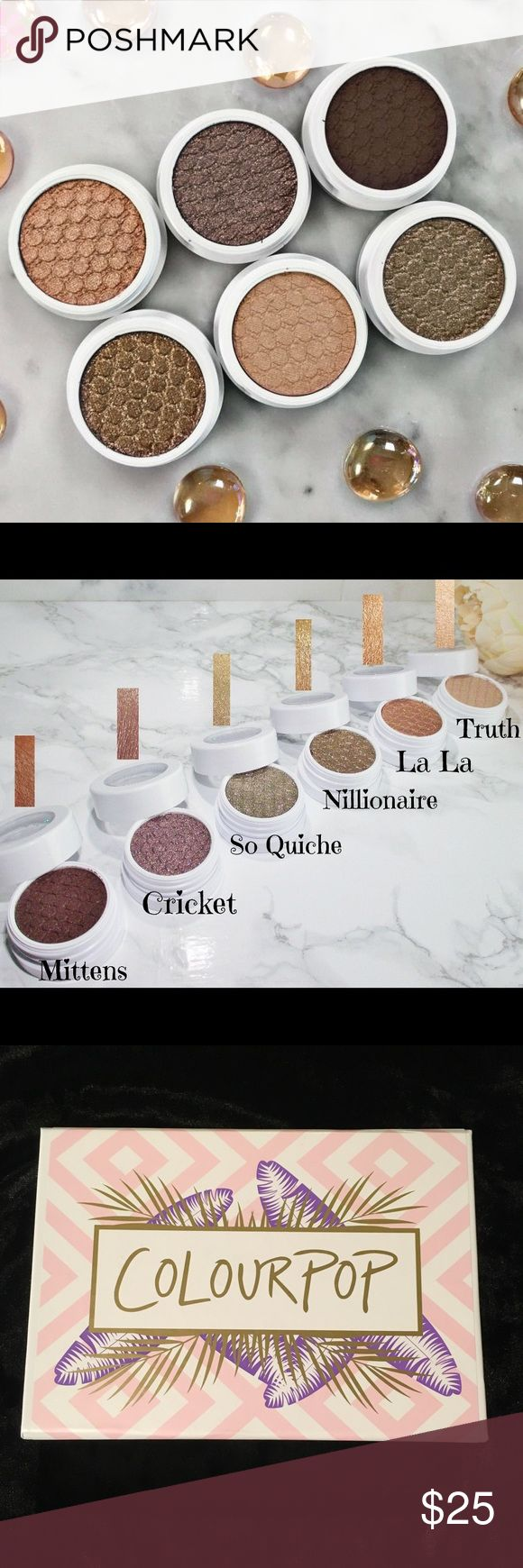 """COLOUR POP Mile High Eyeshadow Collection Colour Pop """"Mile High"""" NIB Best of Super Shock Shadow Collection Truth, Nillionaire, So Quiche, Lala, Cricket, Mittens Made in USA Regular price: $5/shadow, $30 Colourpop Makeup Eyeshadow"""