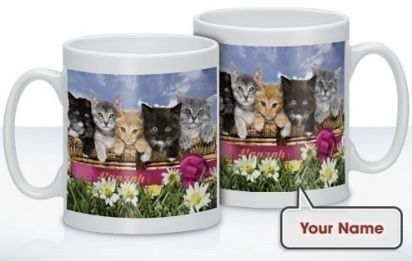 Personalised Kittens in a Basket Mug - Treat that cat lover to a mug featuring adorable kittens. Choose a name to be printed alongside the cute moggies for a unique gift! #PersonalisedGifts #CatGifts #Cats #Animals £10.99