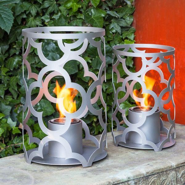 TF Essentials Mediterranean Gray Outdoor Steel Lantern Set