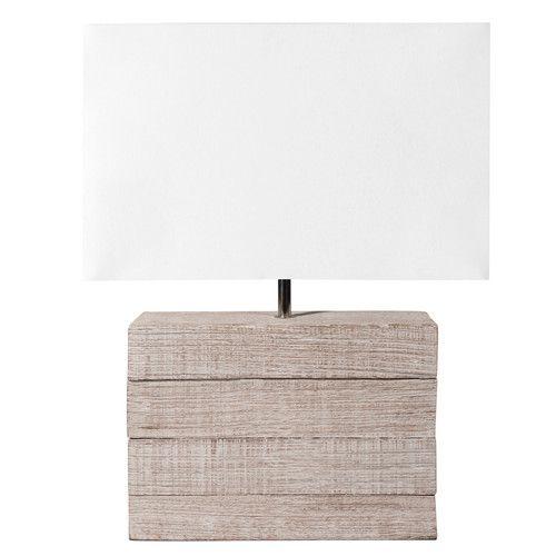 Lampe LAGON aus Mangoholz mit Lampenschirm aus Stoff, H 32cm