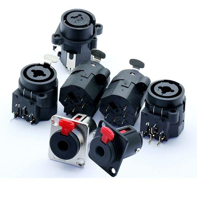 1pc Professional Speaker Plug Audio Jack 6 35mm Female Socket Panel Mount Xlr Connector Black Professional Speakers Audio Plugs
